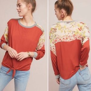 Anthropologie Tiny Tie Front Longsleeve Floral Top